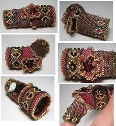 """Erin Simonetti """"The montage below depicts a 'Finger Ring' patterned with 'diamond cut outs', on the lower band, filled with 2mm Swarovski Crystals. The entire ring is woven using 11/0 Delica Glass Beads and trimmed with Toho 11/0 Permanent Mettalic Gold Glass Beads."""" ~ narrative from website #erinsimonetti #PurelyInspiration"""