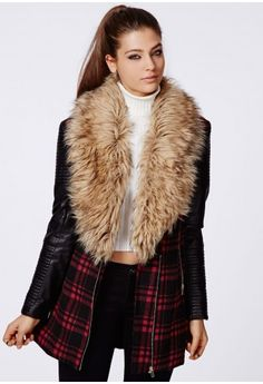 Orla Faux Fur Leather Biker Sleeve Coat - Coats & Jackets - Missguided