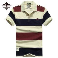 Men's Summer Stripe Polo Shirt-Cotton/Polyester