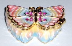 Monet enamel butterfly trinket box