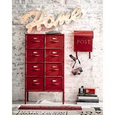 Cabinet de rangement indus en métal rouge L 52 cm