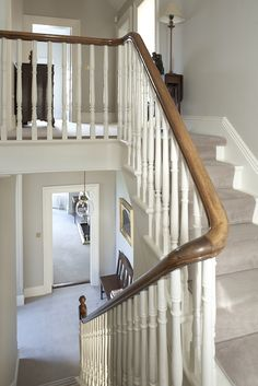 I don't like the style of the bannister, but this is the design that I'd need. I'm not sure if the lower section would need the spindles, or if it could be just the railing since there is a wall there.