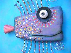Purple Goldfish Original Found Object Wall от FigJamStudio на Etsy