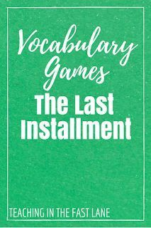The last installment of EVEN MORE vocabulary games for your students to play to cement their word wall words in their memory!