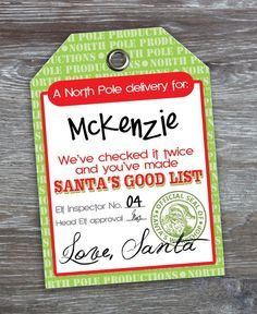 Free Printable Santa Gift Tags {You Can Even Edit To Add Child's Name}