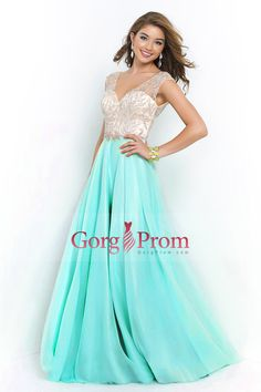 2015 V Neck Prom Dresses A Line Beaded Bodice Sweep Train Chiffon And Tulle