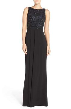 Adrianna Papell Beaded Bodice Jersey Gown