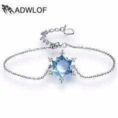 ADWLOF 4.0CT Geometric Cut Natrual Sky Blue Topaz Snowflake Bracelets 925 Sterling Silver for Women Wedding Fine Jewelry