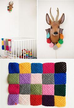 Cobertor feito de quadrados | DIY granny square blanket