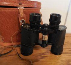 Mariner Binoculars 7 x 35, Vintage Universe Mariner Binoculars, Binoculars with Original Leather Case, Case With Compass on Lid