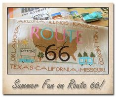 Route 66 counted cross stitch patterns : Little House Needleworks travel vacation USA Oklahoma Illinois California Arizona hand embroidery by thecottageneedle