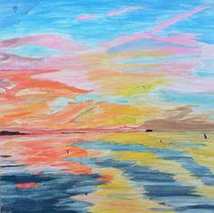 Expressionist landscape. Sunset.
