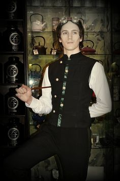 The Earl Grey's Tea Party Collection 2014 Military stylesteampunk men's waistcoat with mandarin collar. The Earl Grey's Tea Party Collection 2014 gent's oriental inspired steampuk waistcoat with mandarin collar and military detail.