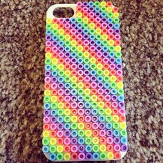 Rainbow iPhone cover perler beads by imxgineshxnxnxn