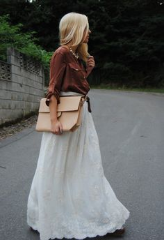 All for fashion design present you the most beautiful and trendy long skirt. Look and enjoy! Cool Street Fashion, Love Fashion, Fashion Models, Autumn Fashion, Fashion Outfits, Fashion Design, Fashion 2015, Style Fashion, High Fashion
