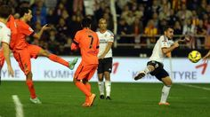 "Picture: The Game Winner - Goal: Sergio Busquets at 90+4 minutes | Valencia 0 - FC Barcelona 1, La Liga week 13, 30 November 2014. Busquets, after scoring his late winner: ""We never settle for a draw and chased that goal until the final moment"""