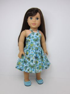 American girl doll clothes  - Blue butterfly print halter dress by JazzyDollDuds.