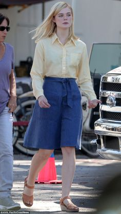 Mellow yellow: Elle Fanning was spotted on set of her new film 20th Century Women on Wednesday in Los Angeles