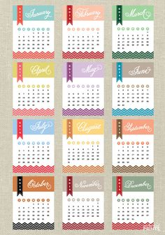 Instant Download Printable 2014 Calendar by EnchantedPrints