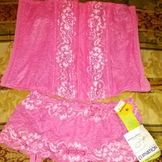 Corset with panties NWT ✔SALE  Sorry  no trades and  sell are final.  very pretty Pink lace corset and panties.  (brand new)... 25 Intimates & Sleepwear Panties