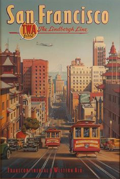 Vintage San Francisco Trolley Poster, Cityscape Illustration Wall Decor, Downtown View Wall Art, TWA Travel Art, Free Ship by ArleyArt on Etsy Old Poster, Poster Retro, Poster Art, Pin Ups Vintage, Photo Vintage, Vintage Photos, San Francisco Travel, San Francisco California, Vintage Advertisements