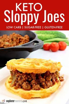 Delicious quick and easy keto sloppy Joes are a family-friendly low carb weeknight meal. Gluten-free and sugar-free, ground beef with a homemade spicy sloppy Joe sauce.