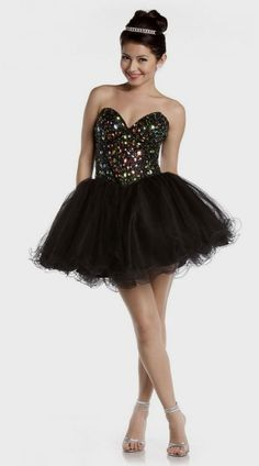 Short Black Poofy Prom Dresses | Cocktail dresses on Pinterest | 94 Images on homecoming dresses, shor ...