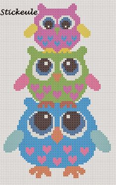 3 Owls ___ Mom Owl Stands w Girl Owl on Her HEAD & The Girl Owl Has a Baby Owl on Her HEAD___ Square Stitch *or* Loom Work ____ I will definitely use this owl cross-stitch pattern someday!- no link Cross Stitch Owl, Cross Stitch Animals, Cross Stitch Charts, Cross Stitch Designs, Cross Stitching, Cross Stitch Embroidery, Embroidery Patterns, Cross Stitch Patterns, Hand Embroidery