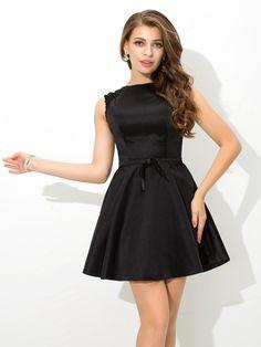 8724817beae 2019 Short A-Line High Neck Satin Black Homecoming Dresses