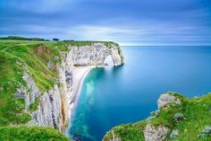 Cote d'Albatre, France. The chalk-white 'Alabaster Coast' stretches for 80 miles with cliffs up to 100 metres high, forming odd structures like the arch at Etretat
