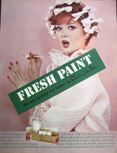 Charles of the Ritz 'Fresh Paint' Nail Lacquer Kit Ad, 1959 1950s Makeup, Makeup Ads, Retro Makeup, Vintage Makeup, Vintage Diy, Vintage Beauty, Vintage Stuff, Vintage Nails, Vintage Glamour