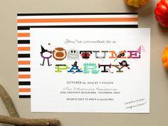 Costume Party Invitation, Halloween party invite