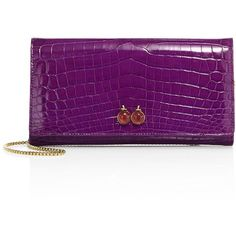 Ethan K Mrs. Baker Crocodile Clutch ($6,175) ❤ liked on Polyvore featuring bags, handbags, clutches, apparel & accessories, violet, crocodile embossed handbags, croco handbags, croco embossed handbags, chain strap handbags and croc handbags