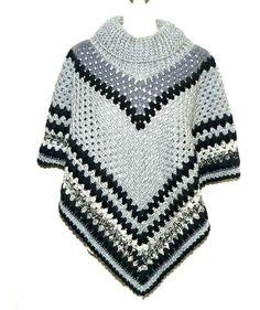 3de1b10566aac2 Crochet Poncho Cowl Neck Poncho Black Poncho Boho by CrochetRagRug  Kuschelig, Stricken, Damen,