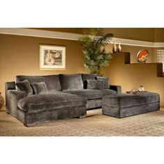 Made To Order Doris 3-piece Smoke Sectional Sofa with Storage Ottoman - Overstock™ Shopping - Big Discounts on Sectional Sofas