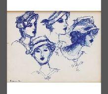 21-Fikret MUALLA (1904-1967)  Kağıt üzerine mürekkep kalem, imzalı.  22 x 26 cm  2.500 TL