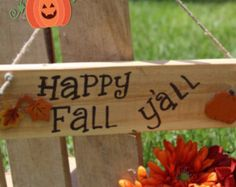 Wooden fall signs Wood Happy fall yall sign Primitive fall decor Fall wood signs Rustic Fall decorations Fall decor signs