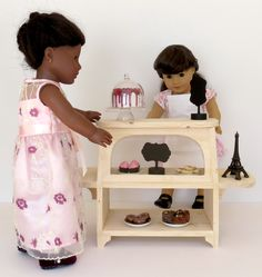 Doll BAKERY CASE for 18-inch dolls, American Girl ® with chalkboard signs by LemonBayDollCo on Etsy