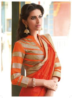 Orange chiffon saree with gold border and chinese collored quarter sleev blouse