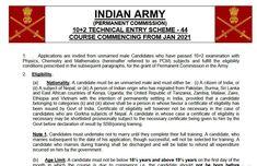 Indian Army Recruitment 2020 : 102 टकनकल एटर सकम (TES) क लए नटफकशन जर जन पर डटलस