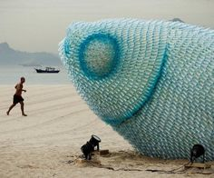 Massive Recycled Plastic Bottle Fish Sculptures