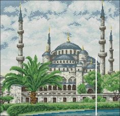 The Sultan Ahmed Mosque (The Blue Mosque) is a historic mosque in Istanbul and a symbol of city See also another free cross-stitch patterns Do Cross Stitch Charts, Cross Stitch Designs, Cross Stitch Patterns, Cross Stitch Landscape, Islamic Patterns, Blue Mosque, Cross Stitch Pictures, Islamic Art, Cross Stitching