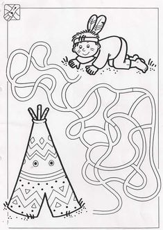 Crafts,Actvities and Worksheets for Preschool,Toddler and Kindergarten.Lots of worksheets and coloring pages. Mazes For Kids, Worksheets For Kids, Crafts For Kids, Maze Worksheet, Wild West Party, Cultural Crafts, Native American Crafts, Le Far West, Child Day