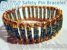 Create these junk drawer jewelry projects with simple household items.: DIY Safety Pin Bracelet Tutorial
