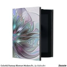Colorful Fantasy Abstract Modern Fractal Flower iPad Folio Cases
