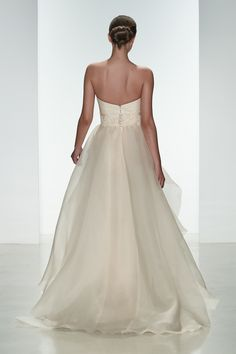 "Amsale Spring 2015 ""Hailee"" gown back. Silk organza pink strapless gown with layered organza skirt."