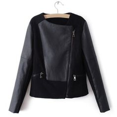 Women's Fashionable Zipper PU Leather Splicing Long Sleeved Jacket, BLACK, S in Jackets & Coats | DressLily.com
