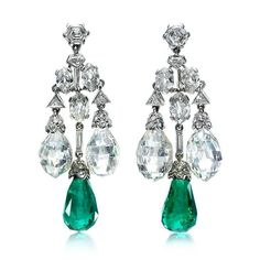 Emerald Earrings A Pair of Art Deco Platinum, Emerald and Diamond Ear Pendants, by Cartier, circa Available at FD Gallery. Cartier Jewelry, Antique Jewelry, Vintage Jewelry, Cartier Earrings, Antique Art, Art Deco Jewelry, Fine Jewelry, Jewelry Design, Emerald Earrings