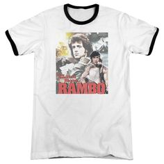 """Checkout our #LicensedGear products FREE SHIPPING + 10% OFF Coupon Code """"Official"""" Rambo:first Blood / They Drew Collage - Adult Ringer - Rambo:first Blood / They Drew Collage - Adult Ringer - Price: $34.99. Buy now at https://officiallylicensedgear.com/rambo-first-blood-they-drew-collage-adult-ringer"""
