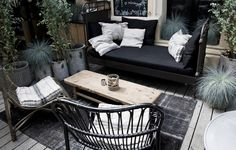 Black rattan outdoor chairs